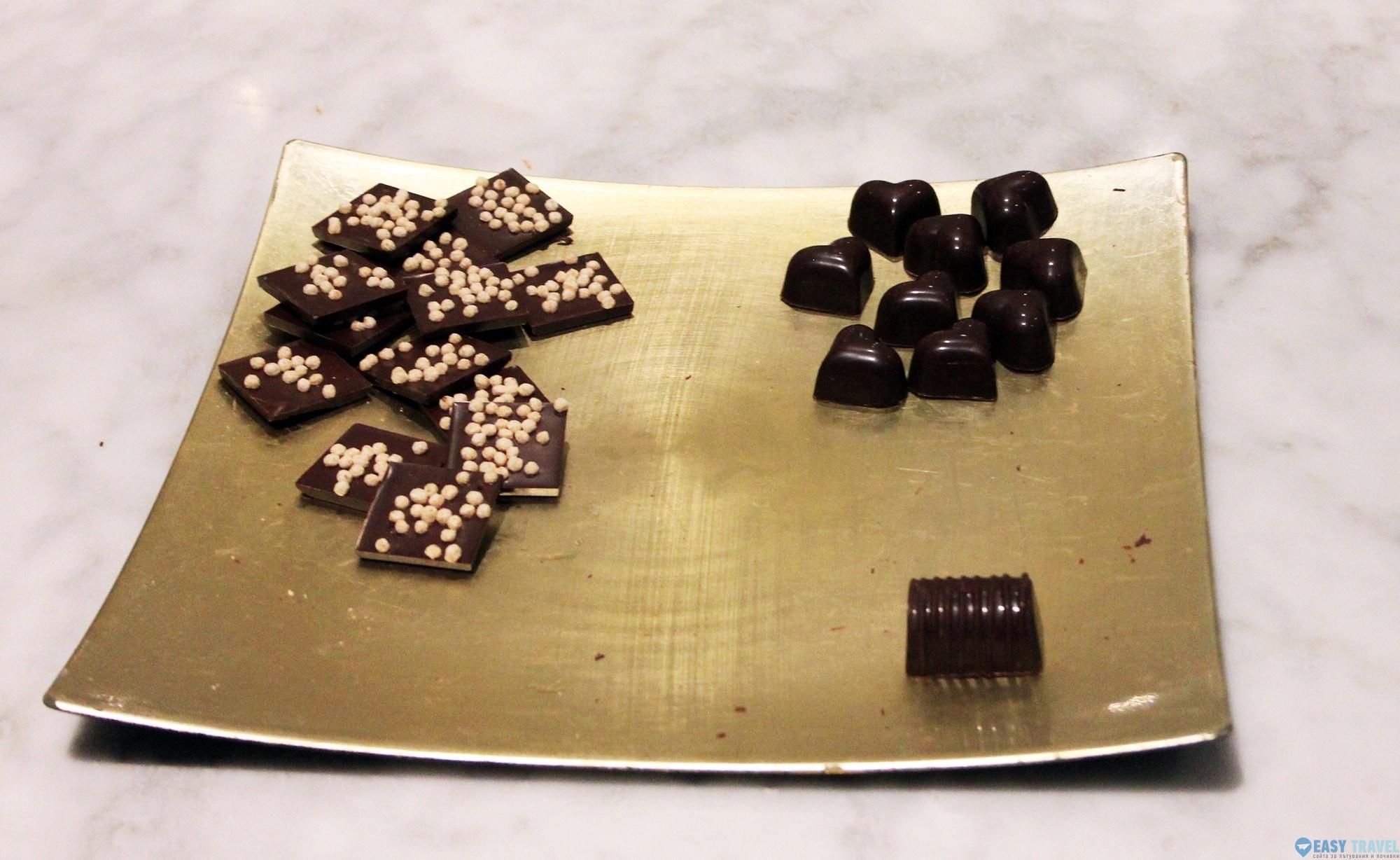 Ръчно направени белгийски шоколадови бонбони